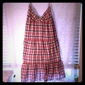 Old navy light  red white & blue plaid dress
